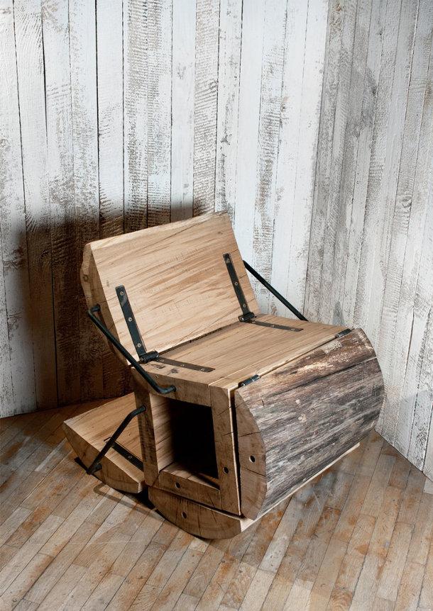 Stoel van een boomstam eyespired - Houten tafel en stoel ...
