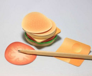 Hamburger als sticky note