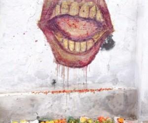graffiti van groente en fruit