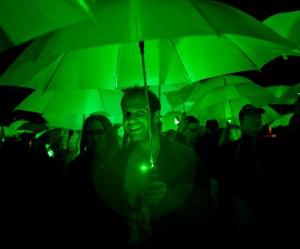 LED paraplu als onderdeel van kunst project