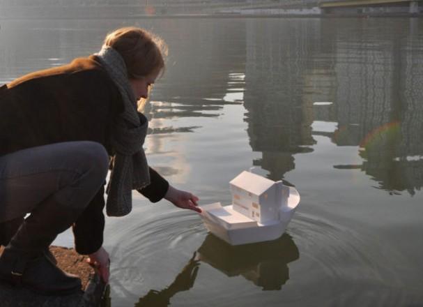 Miniatuur papieren woonboot