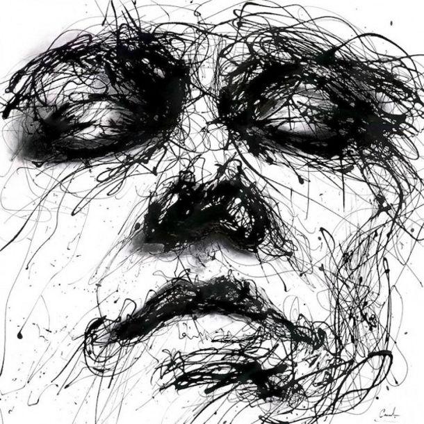 Druipende Zwart Wit Portretten