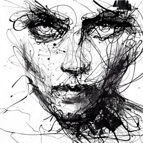 Famous Expressive Line Art : Druipende zwart wit portretten eyespired