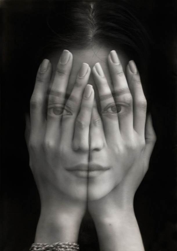 Hyperrealistisch zwart-wit olieverfschilderij