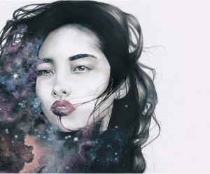 Mixed media portretten van vrouwelijke sterrenbeelden