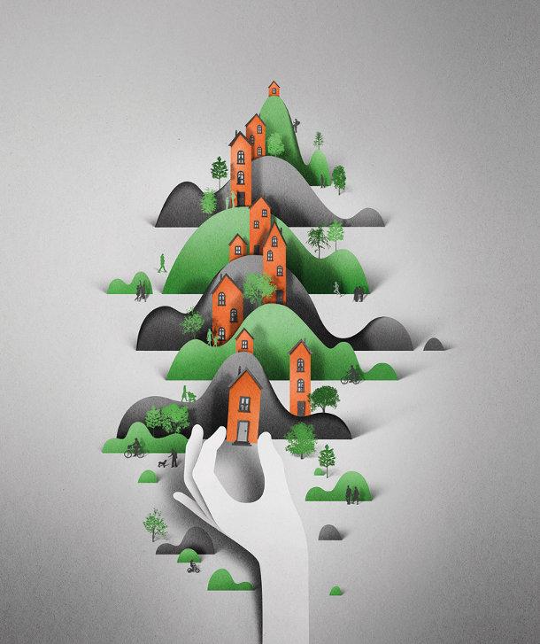 Digitale illustraties van Eiko Ojala