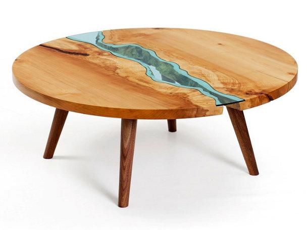 Prachtige Houten Tafel Met Rivier Van Glas EYEspired