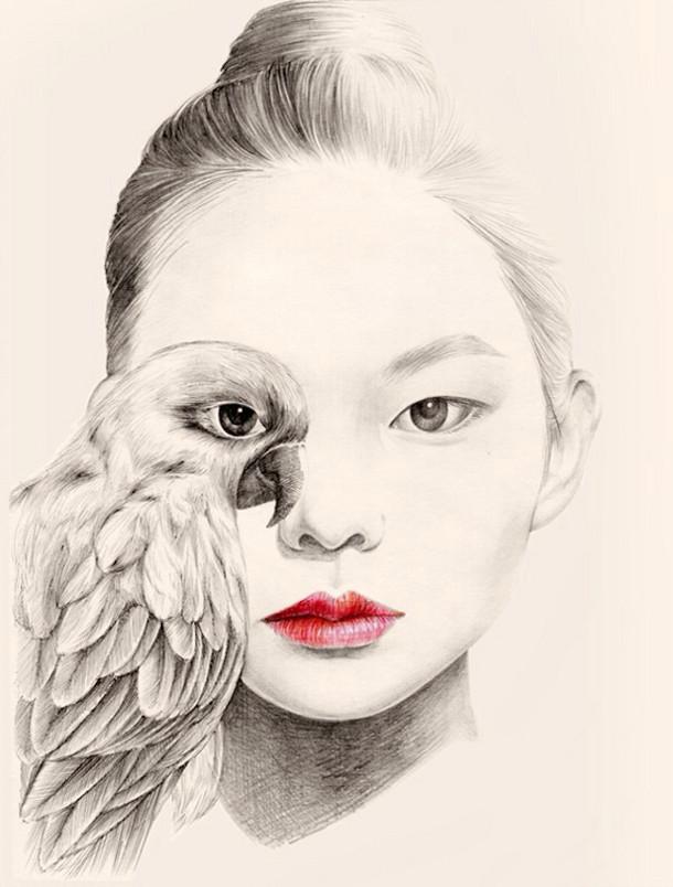Tekeningen van het meisje met vogels - EYEspired