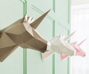 geometrische-origami-dieren-muur