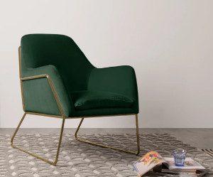 frame-fauteuil-dennengroen-fluweel-en-goud