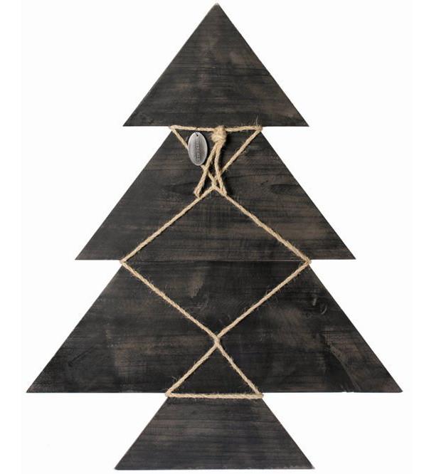 Zwarte houten kerstboom