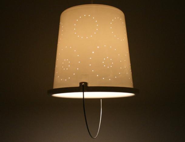 DIY interieur design - lamp van een emmer