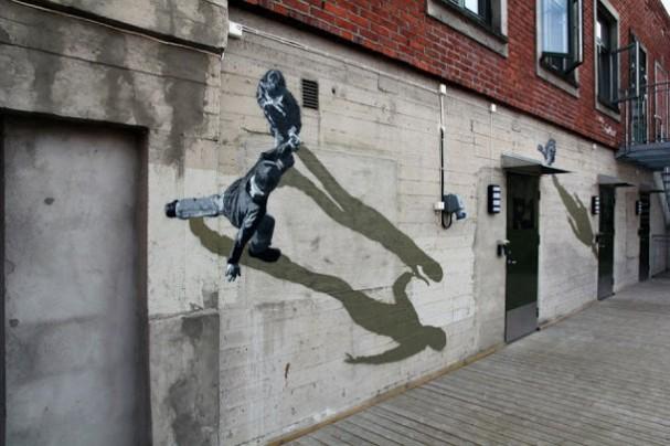 Foto realistische muurschildering van strok