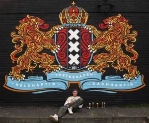 Street art van DHM in Amsterdam